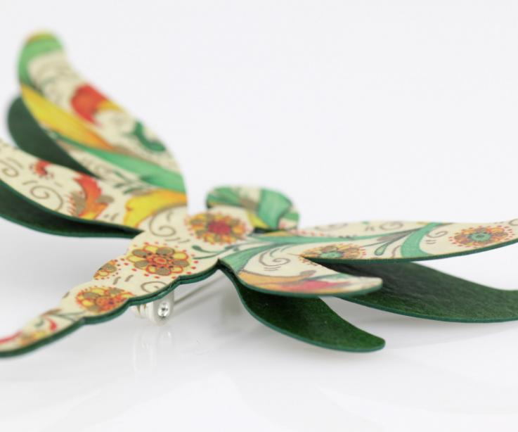 Printed paper dragonfly brooch