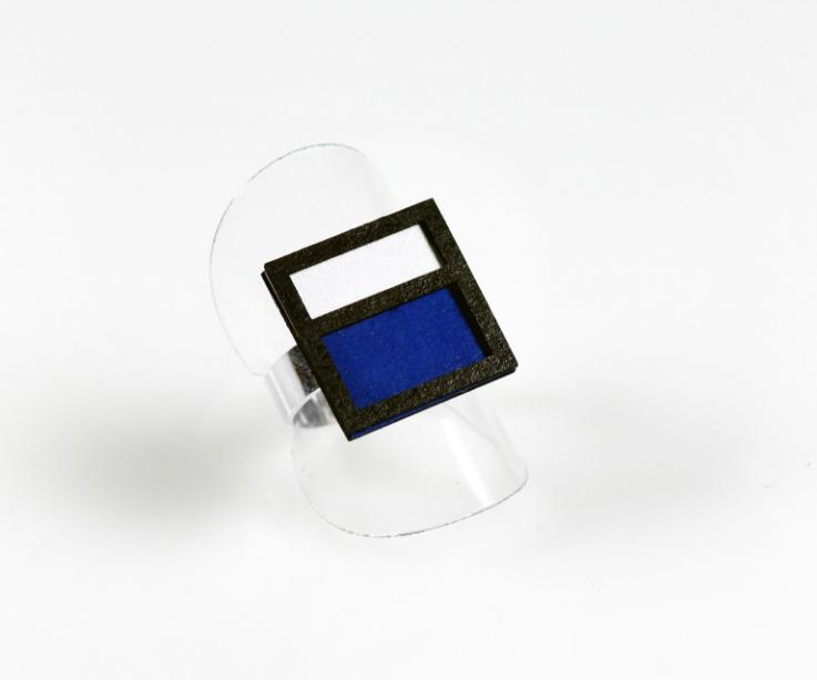 Adjustable ring inspired by famous Mondrian painting
