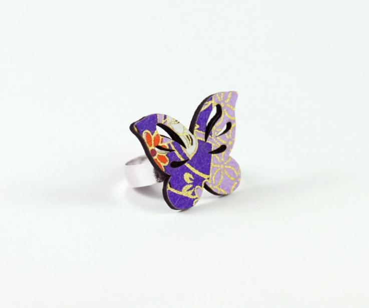 Original paper butterfly ring and sterling silver, perspective view
