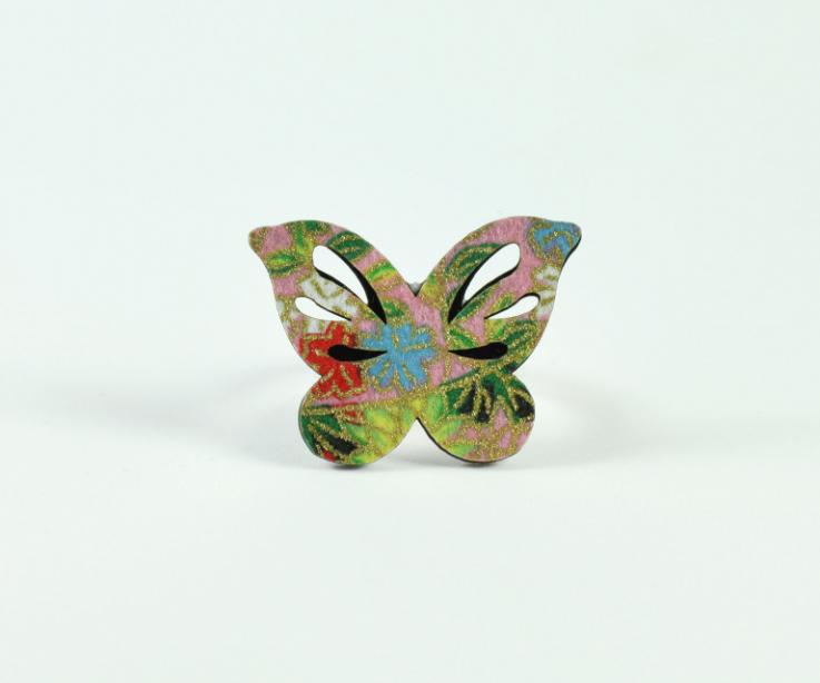 Japanese pink paper butterfly ring, front view
