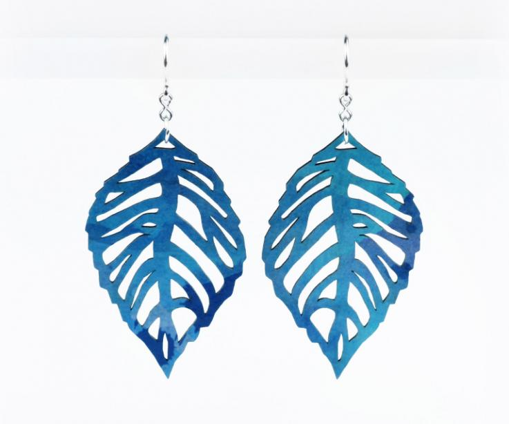Large earrings with paper leaves that do not weigh, front view