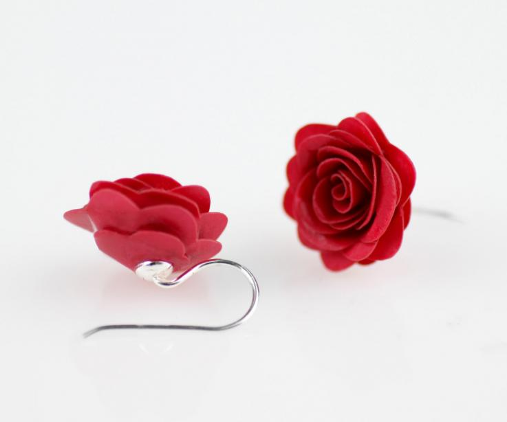 Rose earrings on paper and sterling silver for women, for gift