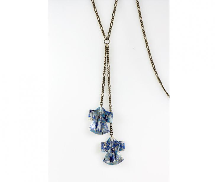Long necklace with origami kimonos, front view