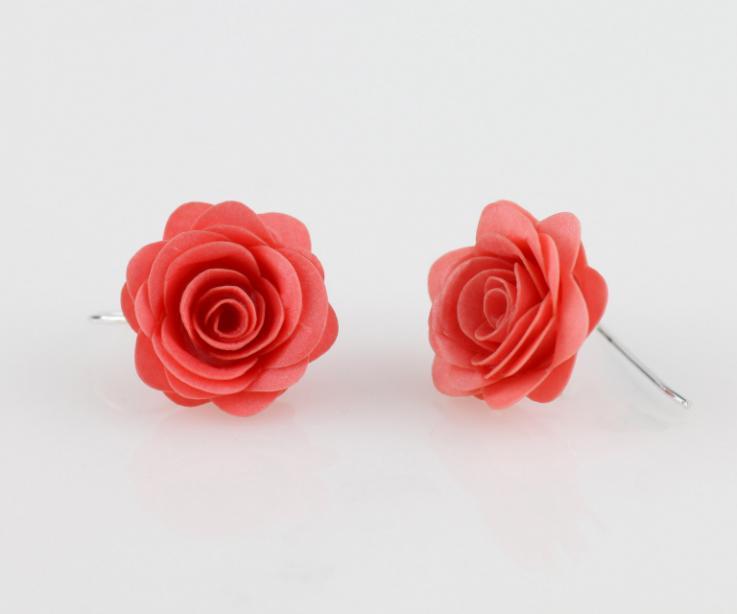 Pendientes rosa bisutería artesanal española en papel
