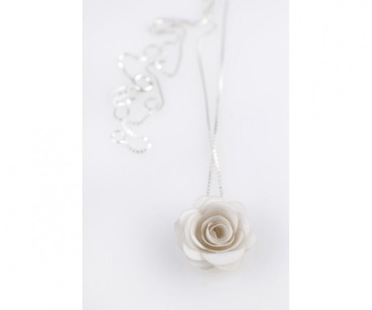 Handmade rose pendant with silver chain