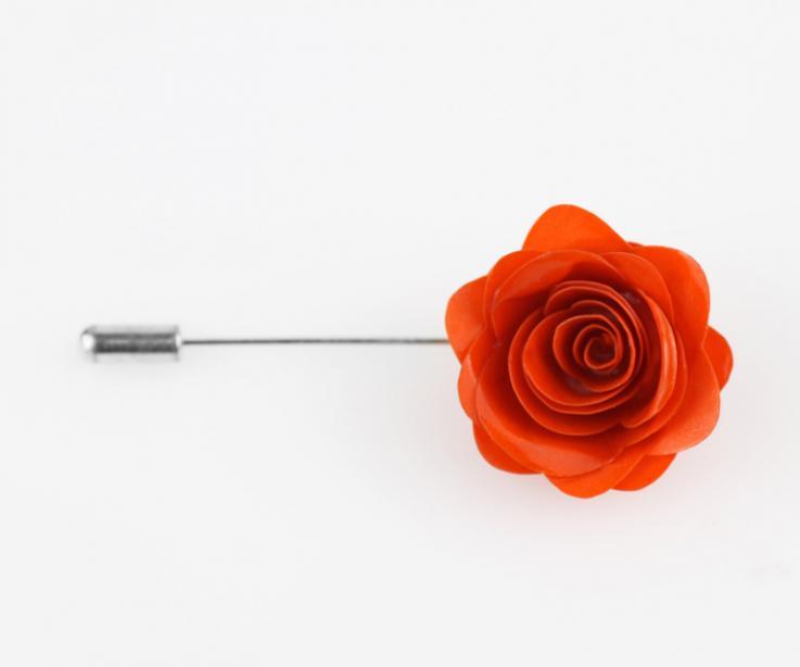 Broche Joyas de Papel de rosa en color naranja para mujer