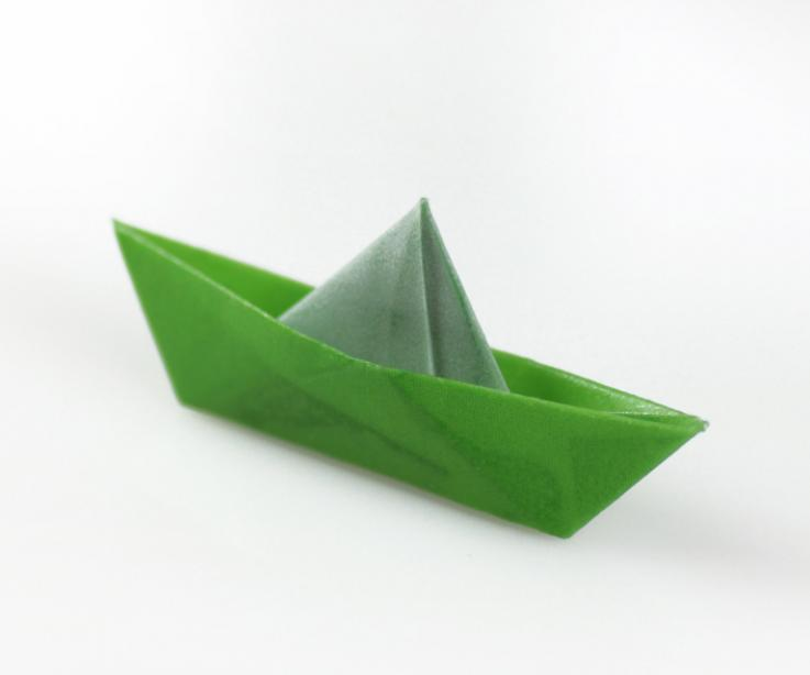 Paper boat with safety pin closure
