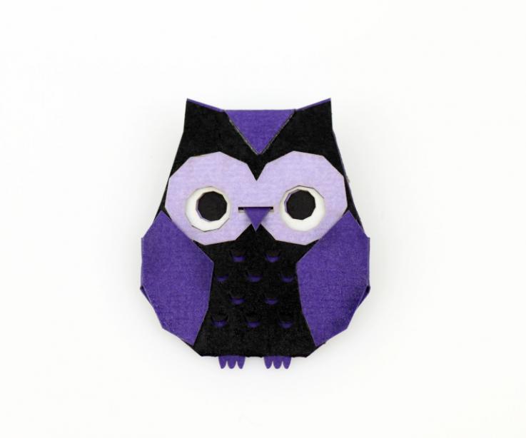 Purple origami owl brooch