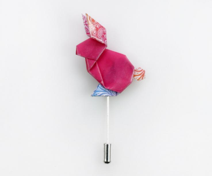 Origami pink rabbit shaped brooch