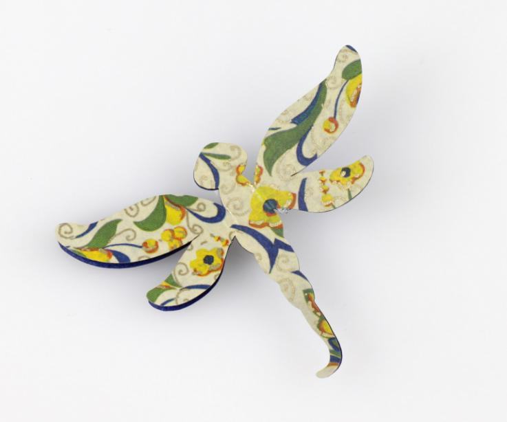 Fashionable paper dragonfly brooch, front view