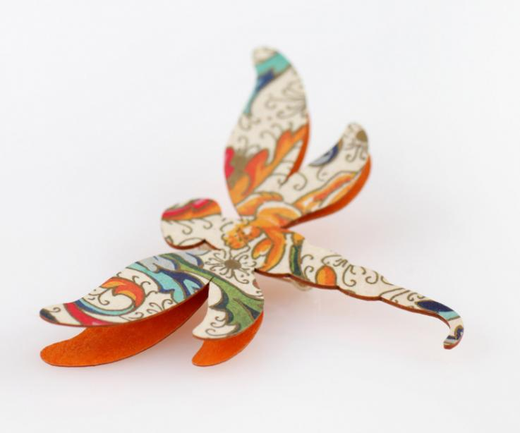 Modern orange printed dragonfly brooch