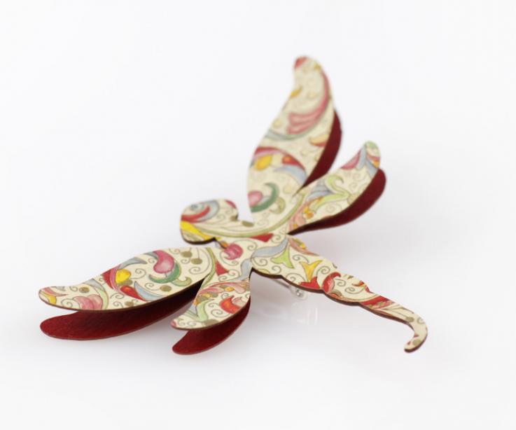 Broche libélula de papel complemento para mujer