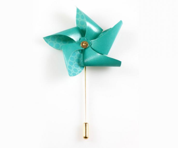 Needle brooch with paper pinwheel for clothes