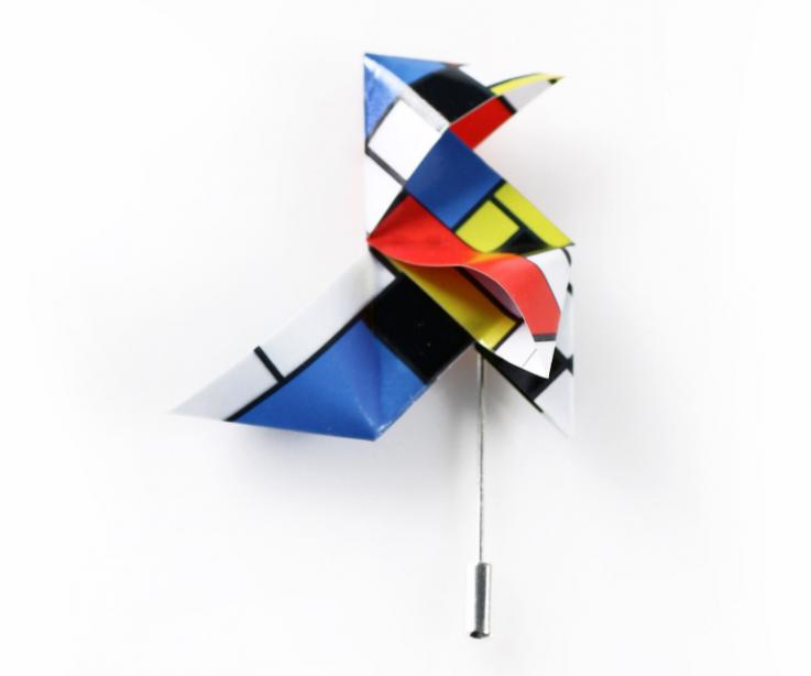 Minimalism in your look. Brooch with needle inspired by Mondrian. Origami jewellery. Street Style