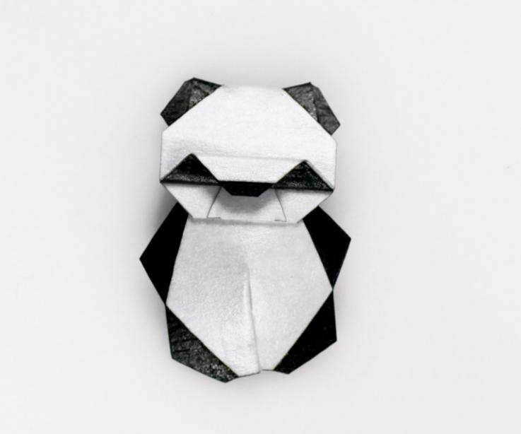 Nice brooch with an origami panda