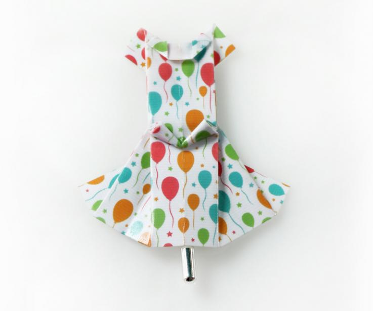 White dress origami brooch with balloons