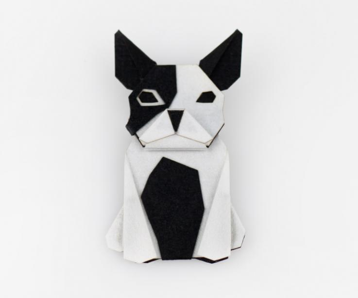 Black and white dog shaped brooch