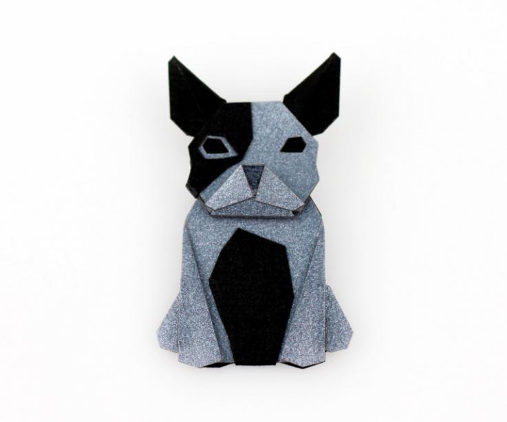 Silver-shaped dog brooch