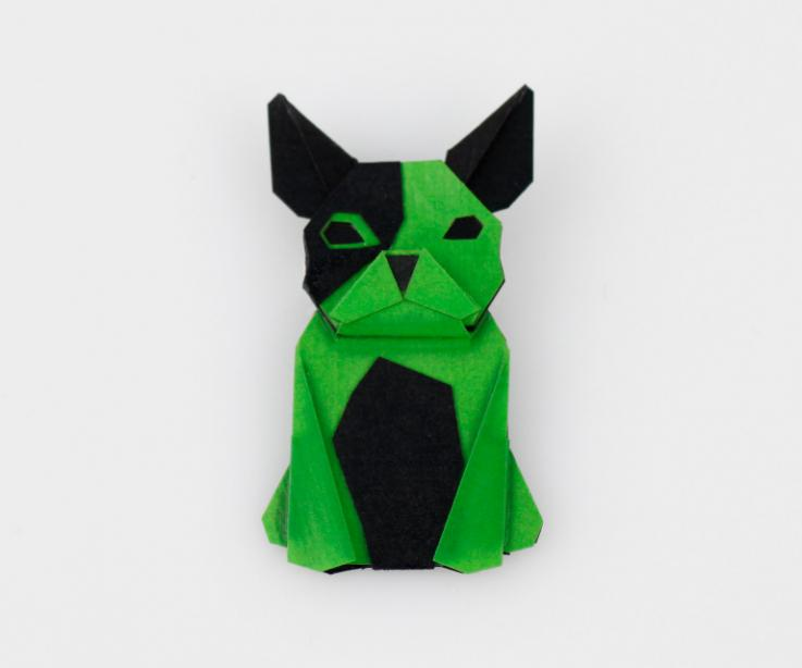 Dog shaped brooch in green