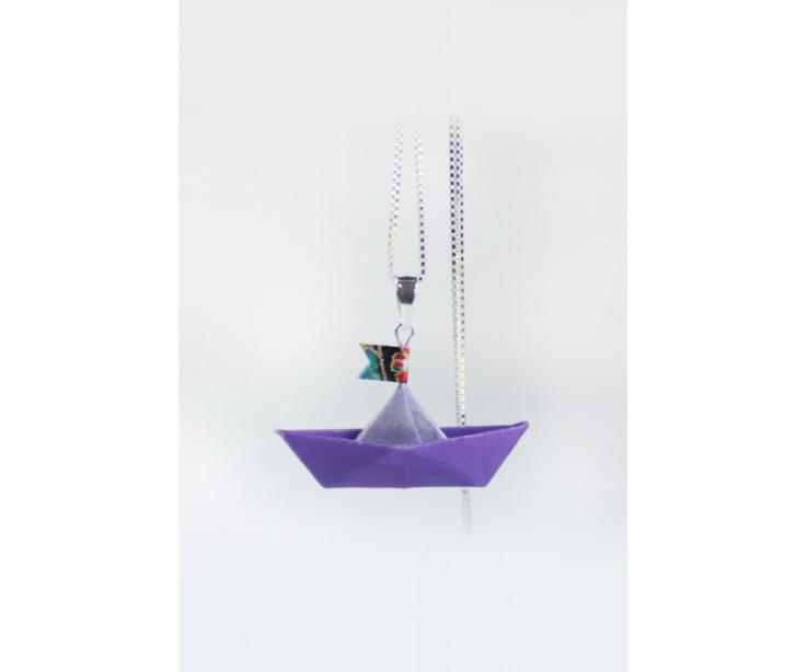 Paper boat pendant and sterling silver chain