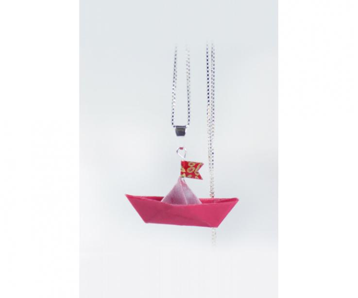 Pendant with silver chain and boat made of origami, jewelry on paper