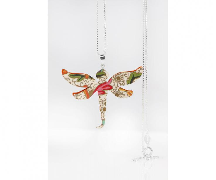 Original dragonfly pendant for women, front view