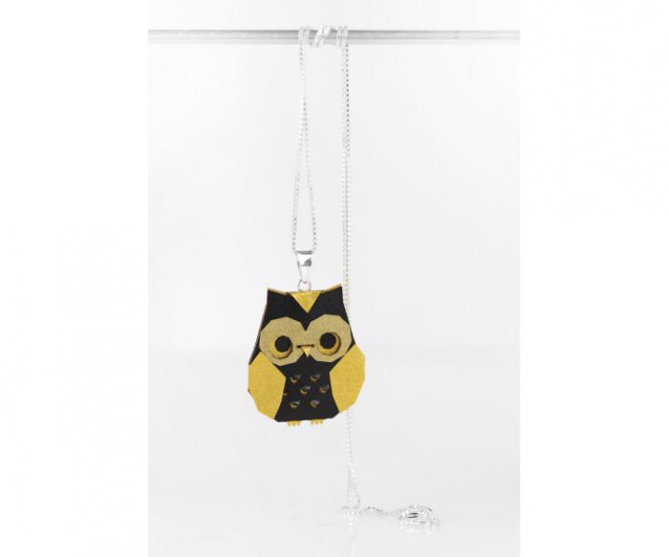 Golden origami owl pendant