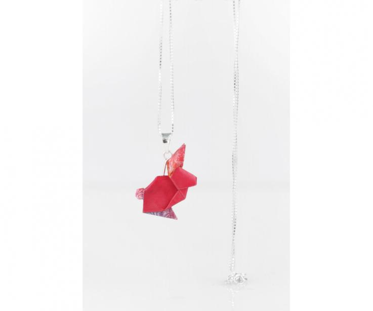 Silver and pink origami rabbit pendant