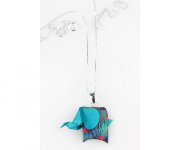Silver pendant with a blue origami pachyderm