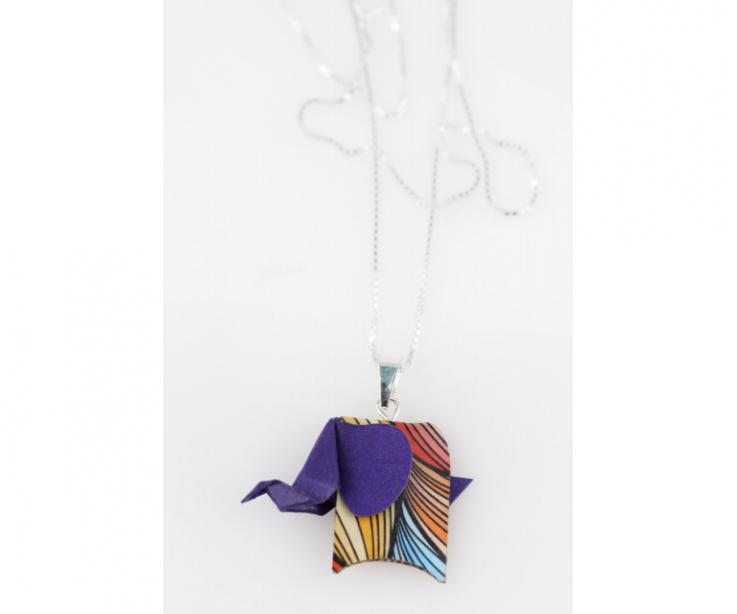 Pendant with silver chain and purple origami elephant