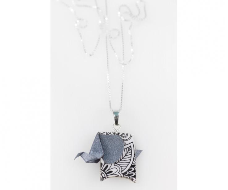 Pendant with silver chain and silver origami elephant