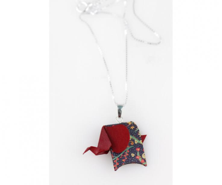 Pendant with silver chain and red origami elephant