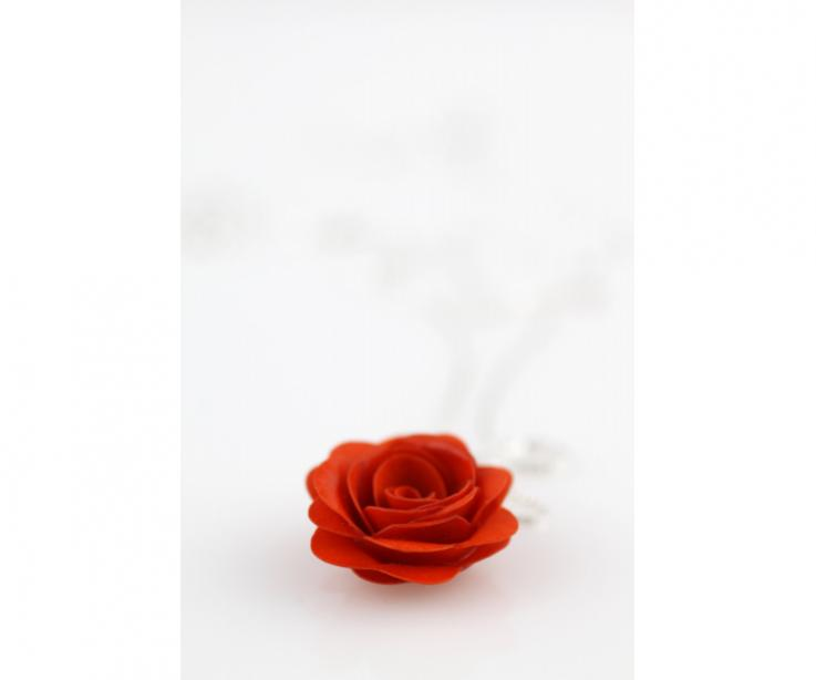 Women's rose paper pendant, design jewelry