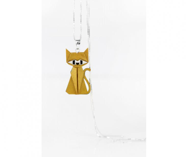 Pendant with silver chain and golden origami cat