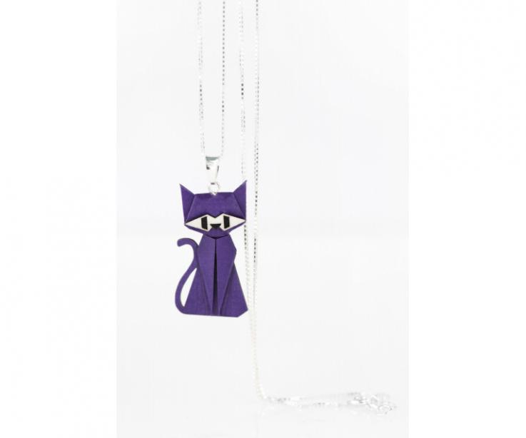 Pendant with silver chain and purple origami cat