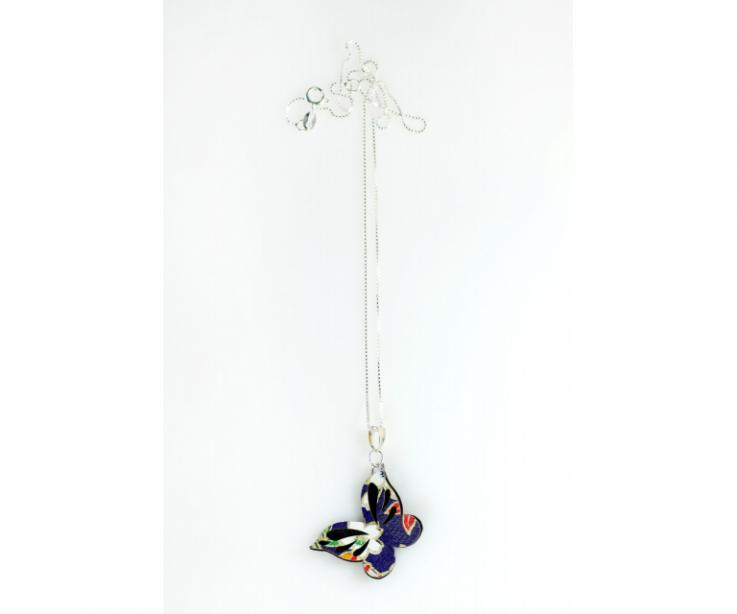 Elegant necklace with butterfly paper and silver chain, front view