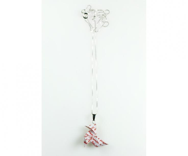 Paper origami bird necklace, silver chain, front view
