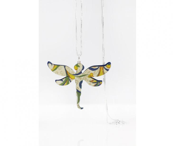 Silver pendant with paper dragonfly, front view