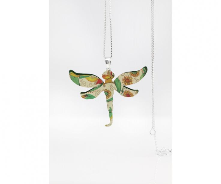 Fashion necklace with dragonfly, front view