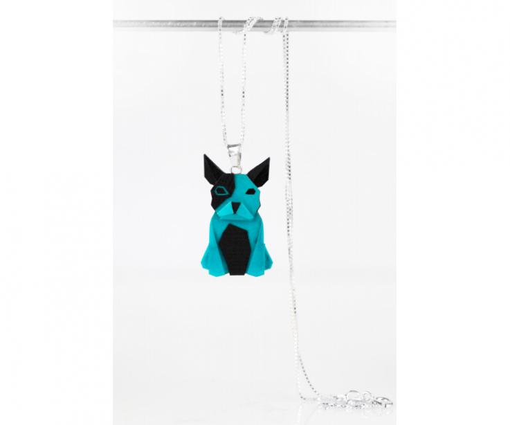 Pendant with silver chain and blue origami dog