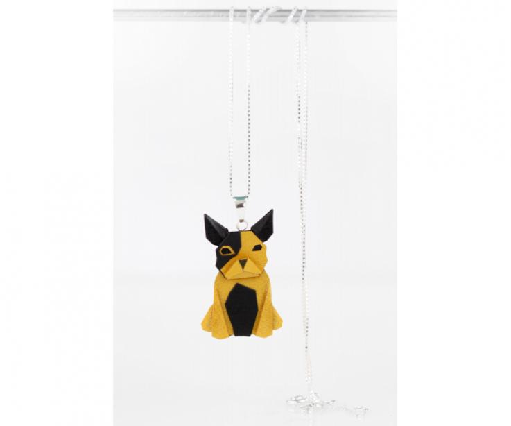 Pendant with silver chain and golden origami dog