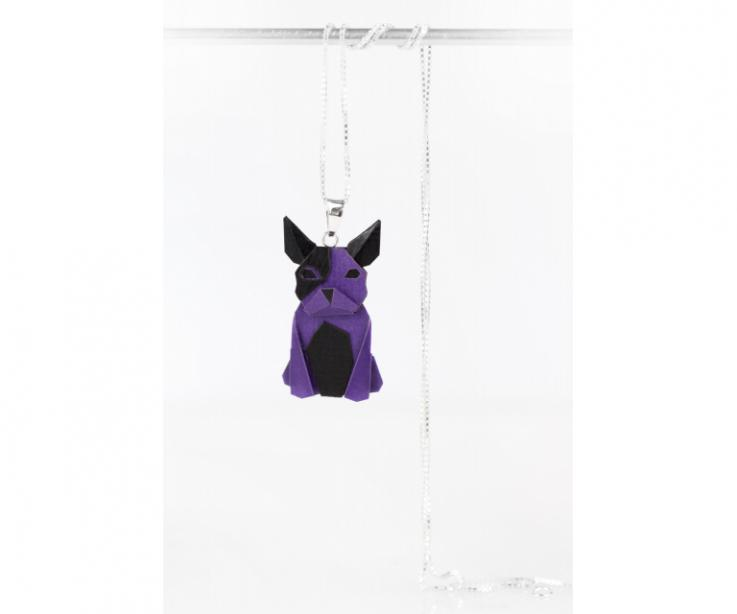 Pendant with silver chain and purple origami dog