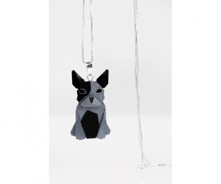 Pendant with silver chain and silver origami dog