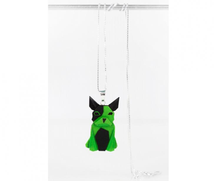 Pendant with silver chain and green origami dog