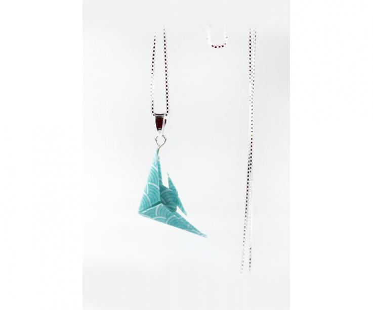 Woman's necklace with origami fish and sterling silver chain, front view