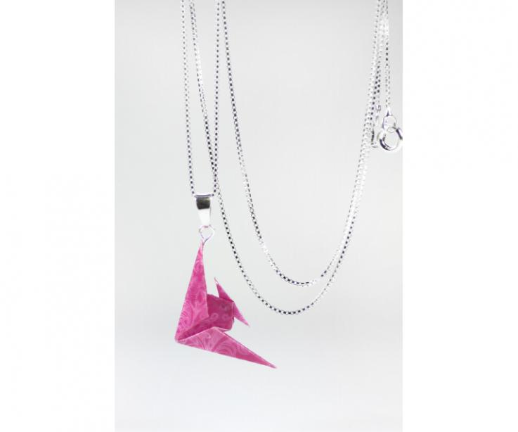 Origami fish choker on paper and sterling silver, front view