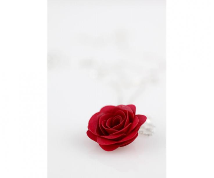 Colgante para mujer flor rosa artesanal