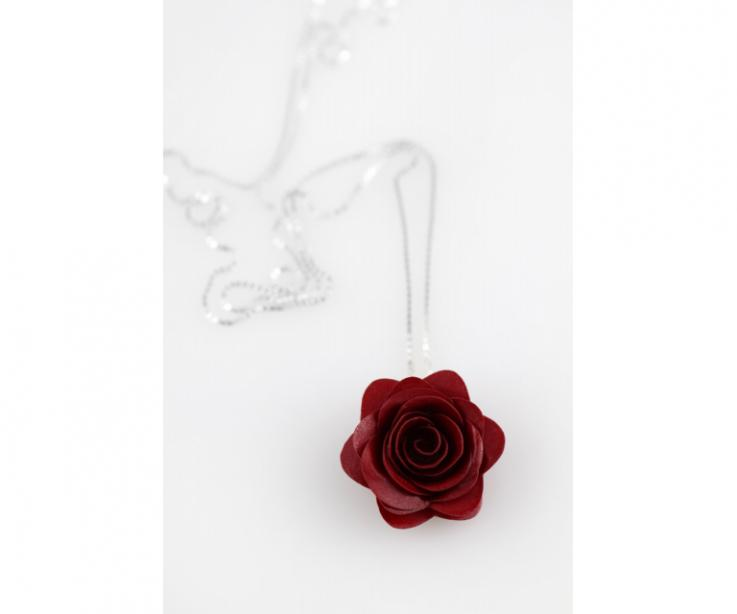 Red pink necklace for women, with sterling silver chain