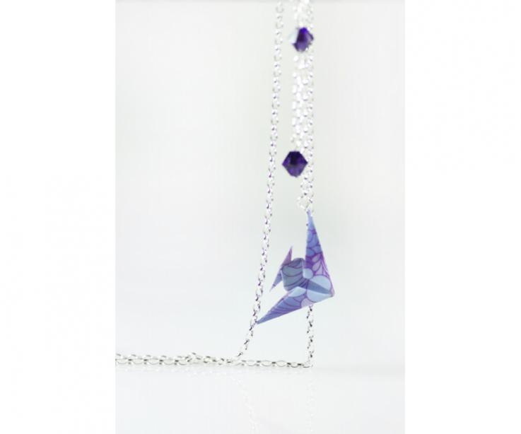 Elegant origami fish and sterling silver long necklace, front view