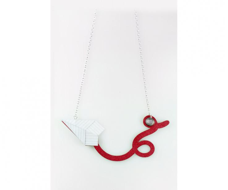 Necklace with craft plane paper and sterling silver, front view